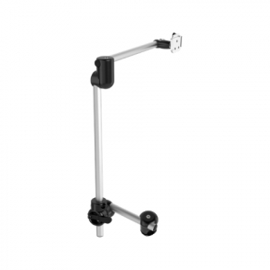 Rehadapt Monty 3D Curved L-QS Two-Tube mount with an enhanced 30 cm offset (#11,8″) to place devices in front of the lap.