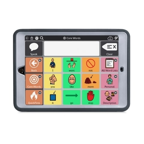 Turn your iPad 10.2 into a touch screen AAC tablet with the Speech Case. added benefit of crash corners and a snap-on faceplate for extra protection.